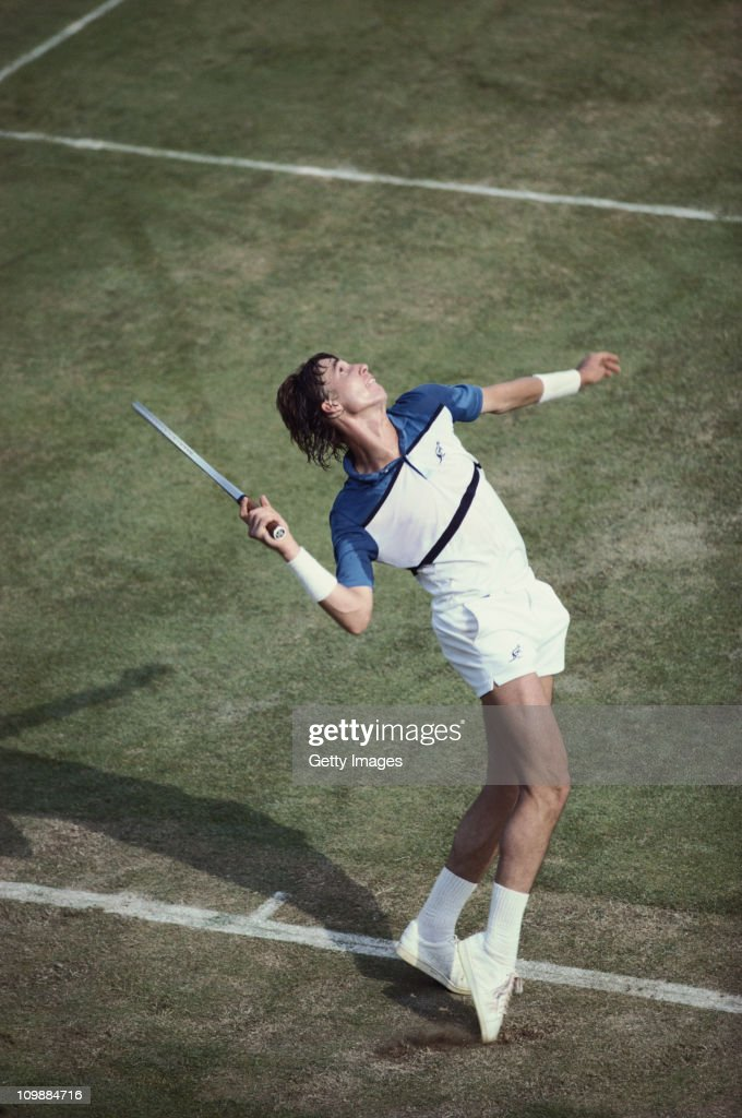 Ivan Lendl of Czechoslovakia serves to Charlie Fancutt during their Men's Singles first round match at the Wimbledon Lawn Tennis Championship on 23rd June 1981 at the All England Lawn Tennis and Croquet Club in Wimbledon, London, England. 4th seed Lendl lost 3 sets to 2 against qualifier Fancutt.
