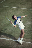 Ivan Lendl of Czechoslovakia serves to Charlie Fancutt during their Men's Singles first round match at the Wimbledon Lawn Tennis Championship on 23rd...