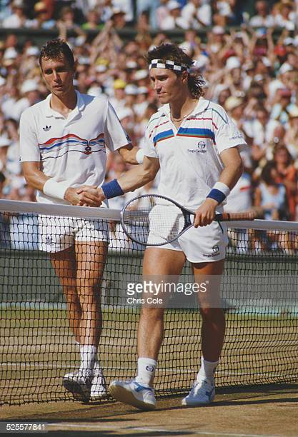 Ivan Lendl of Czechoslovakia shakes hands with Pat Cash of Australia after their Men's Singles Final match at the Wimbledon Lawn Tennis Championship...