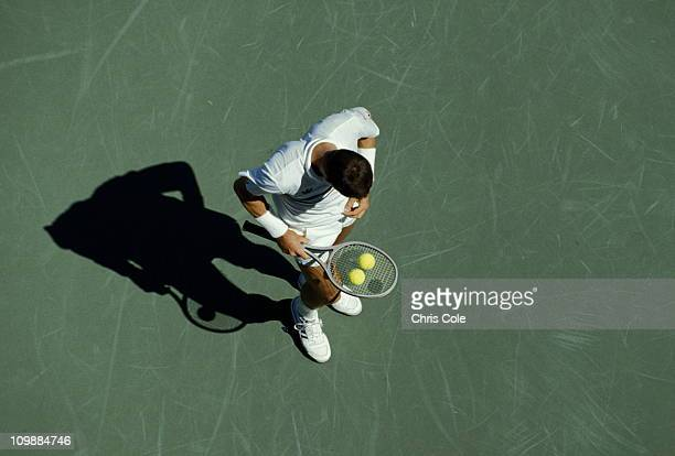 Ivan Lendl of Czechoslovakia takes a break against Barry Moir by balancing two tennis balls on his racquet during their Men's Singles first round...