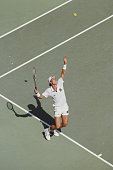 Ivan Lendl of Czechoslovakia tosses the ball into the air as he prepares to serve to Miloslav Mecir during the Men's Singles Final of the Australian...
