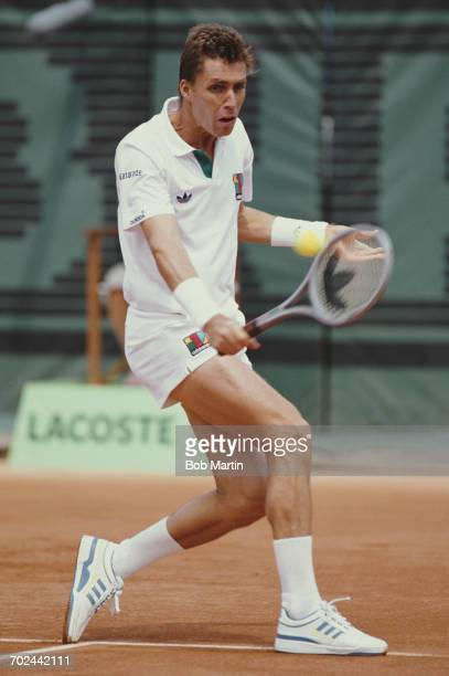 Ivan Lendl of makes a backhand return against Patrik Kuhnen during the Men's Singles first round match at the French Open Tennis Championship on 29...