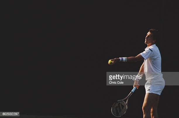 Ivan Lendl of the United States serves against Arnaud Boetsch during their second round match of the Wimbledon Lawn Tennis Championship on 24 June...