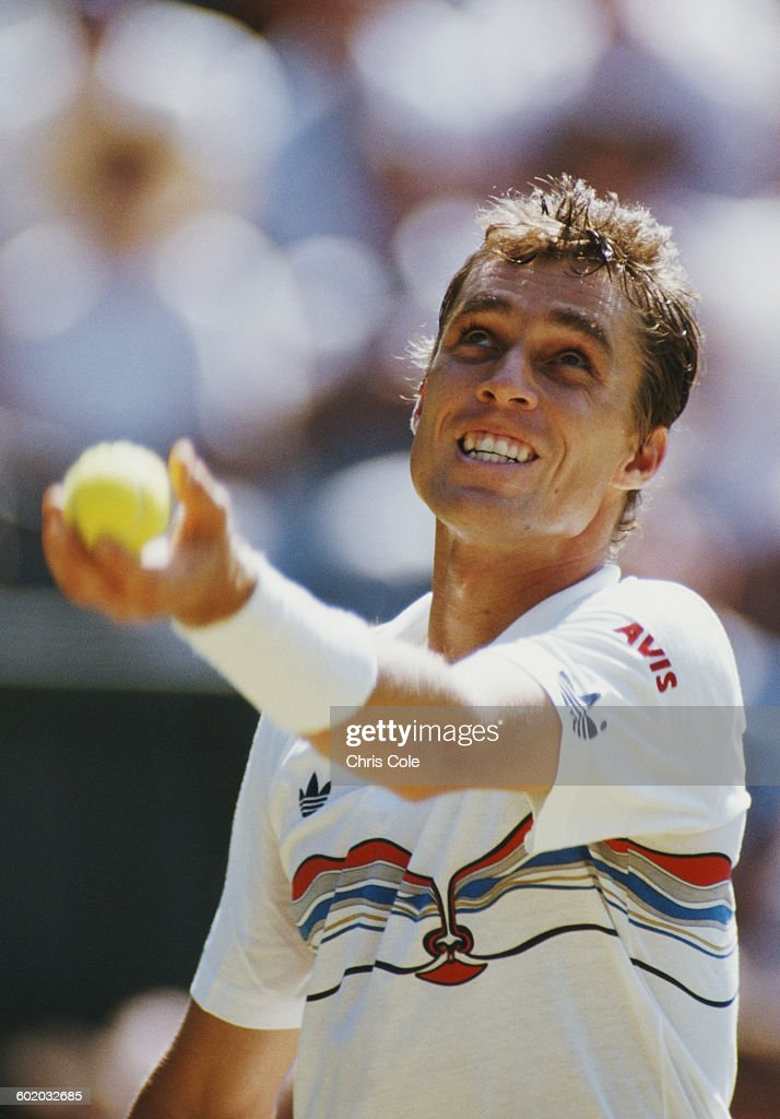 Ivan Lendl of the United States serves to Pat Cash during their Men's Singles Final of the Wimbledon Lawn Tennis Championship on 5 July 1987 at the...