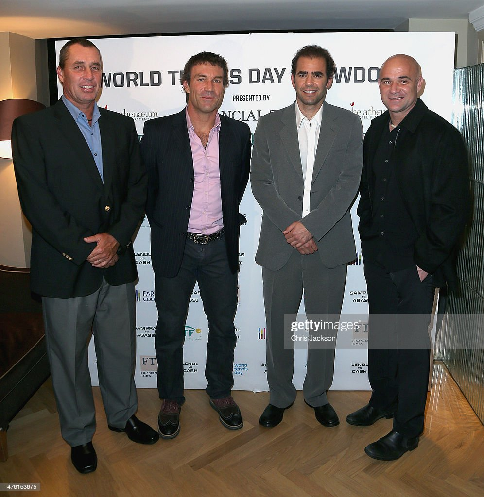 Ivan Lendl, Pat Cash, Pete Sampras and Andre Agassi pose for a photograph in the Garden Room at the Athenaeum Hotel at the World Tennis Day Showdown London VIP Party on March 2, 2014 in London, England.
