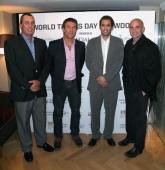 Ivan Lendl Pat Cash Pete Sampras and Andre Agassi pose for a photograph in the Garden Room at the Athenaeum Hotel at the World Tennis Day Showdown...