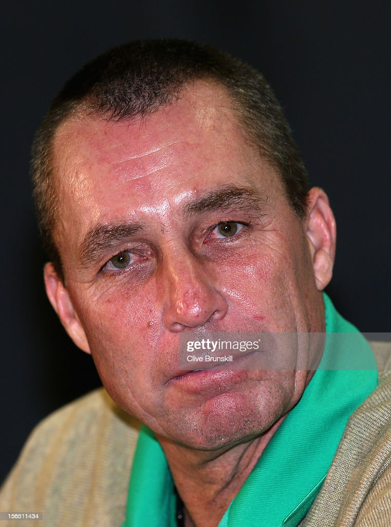 Ivan Lendl talks to the press during a special press conference with the 1980 Czechoslovakian winning Davis Cup team during day one prior to the final Davis Cup match between Czech Republic and Spain at the 02 Arena on November 16, 2012 in Prague, Czech Republic.