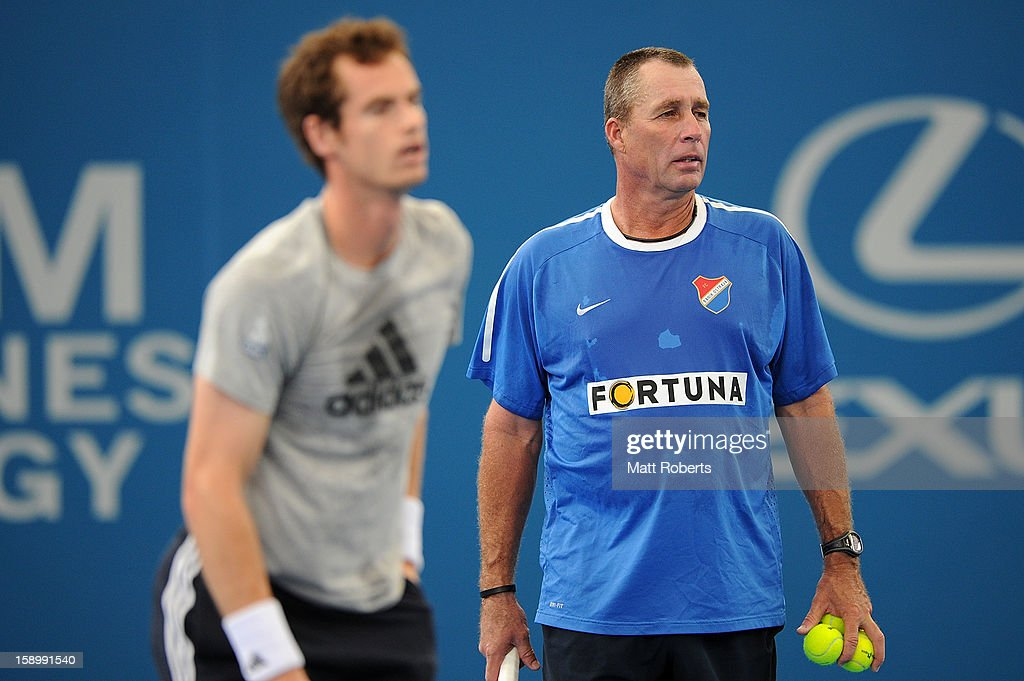 Ivan Lendl, the coach of Andy Murray of Great Britain looks on during a practice session before his semi final match against Kei Nishikori of Japan on day seven of the Brisbane International at Pat Rafter Arena on January 5, 2013 in Brisbane, Australia.