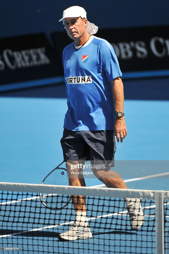 Ivan Lendl, the coach of Andy Murray of Great Britain looks on during a practice session ahead of the 2013 Australian Open at Melbourne Park on January 11, 2013 in Melbourne, Australia.