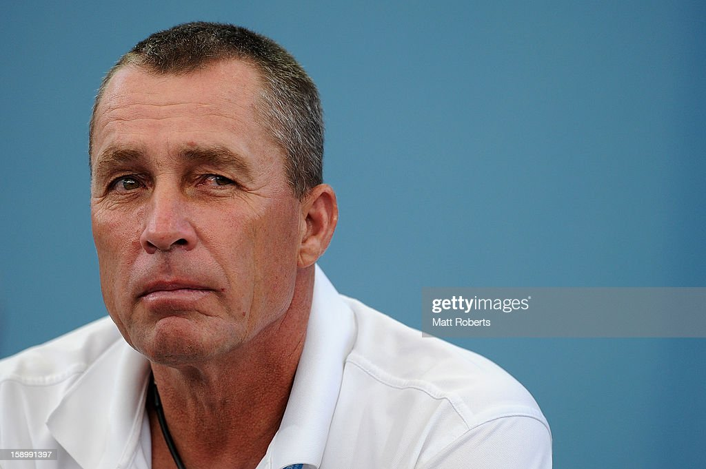 Ivan Lendl, the coach of Andy Murray of Great Britain watches his semi final match against Kei Nishikori of Japan on day seven of the Brisbane International at Pat Rafter Arena on January 5, 2013 in Brisbane, Australia.