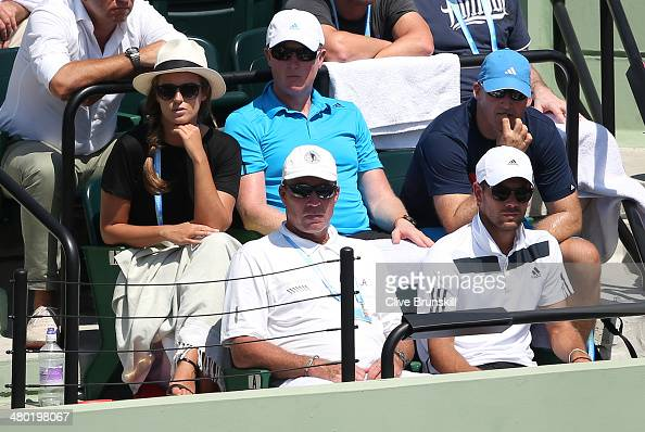 Ivan Lendl watches from the players box as Andy Murray of Great Britain plays against Feliciano Lopez of Spain during their third round match during...
