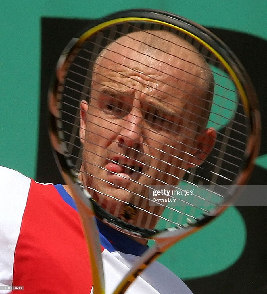 Ivan Ljubic of Croatia, in action during his 3 set win over <a gi-track='captionPersonalityLinkClicked' href=/galleries/search?phrase=Arnaud+Clement&family=editorial&specificpeople=203192 ng-click='$event.stopPropagation()'>Arnaud Clement</a> of France in the first round of the French Open, at Roland Garros, Paris France on May 29, 2007.