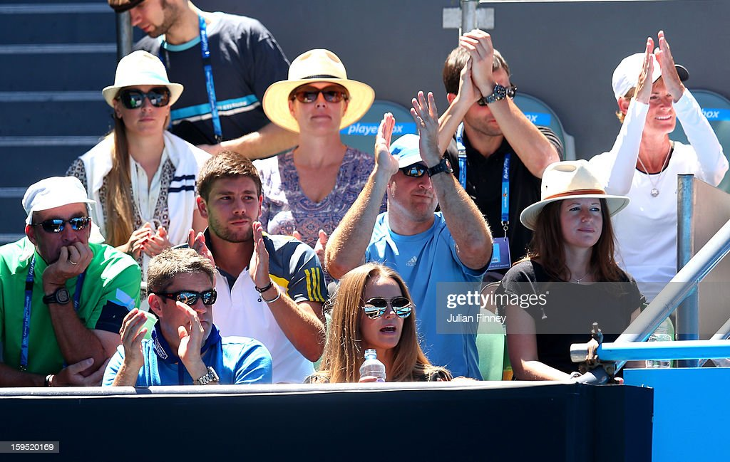 Ivan Llendl (L) coach of Andy Murray of Great Britain, girlfriend Kim Sears (bottom right) and mother Judy Murray (R) watch his first round match against Robin Haase of the Netherlands during day two of the 2013 Australian Open at Melbourne Park on January 15, 2013 in Melbourne, Australia.