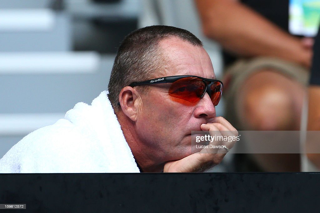 Ivan Llendl, coach of Andy Murray of Great Britain, watches the men's fourth round match between Andy Murray of Great Britain and Gilles Simon of France during day eight of the 2013 Australian Open at Melbourne Park on January 21, 2013 in Melbourne, Australia.