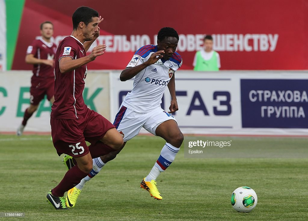 <a gi-track='captionPersonalityLinkClicked' href=/galleries/search?phrase=Ivan+Marcano&family=editorial&specificpeople=5535053 ng-click='$event.stopPropagation()'>Ivan Marcano</a> of FC Rubin Kazan battles for the ball with Ahmed Musa of PFC CSKA Moscow during the Russian Premier League match between PFC CSKA Moscow and FC Rubin Kazan at the Tsentralny Stadium on August 4, 2013 in Kazan, Russia. (Photo by Epsilon/Getty Images