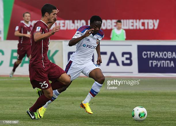 Ivan Marcano of FC Rubin Kazan battles for the ball with Ahmed Musa of PFC CSKA Moscow during the Russian Premier League match between PFC CSKA...