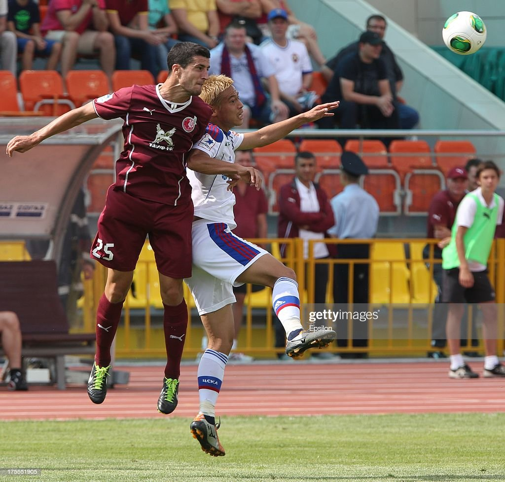 <a gi-track='captionPersonalityLinkClicked' href=/galleries/search?phrase=Ivan+Marcano&family=editorial&specificpeople=5535053 ng-click='$event.stopPropagation()'>Ivan Marcano</a> of FC Rubin Kazan battles for the ball with <a gi-track='captionPersonalityLinkClicked' href=/galleries/search?phrase=Keisuke+Honda&family=editorial&specificpeople=2333022 ng-click='$event.stopPropagation()'>Keisuke Honda</a> of PFC CSKA Moscow during the Russian Premier League match between PFC CSKA Moscow and FC Rubin Kazan at the Tsentralny Stadium on August 4, 2013 in Kazan, Russia.