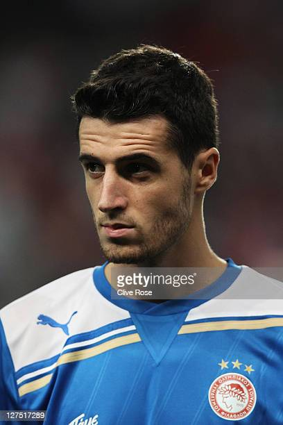 Ivan Marcano of Olympiacos looks on prior to the UEFA Champions League Group F match between Arsenal and Olympiacos at the Emirates Stadium on...