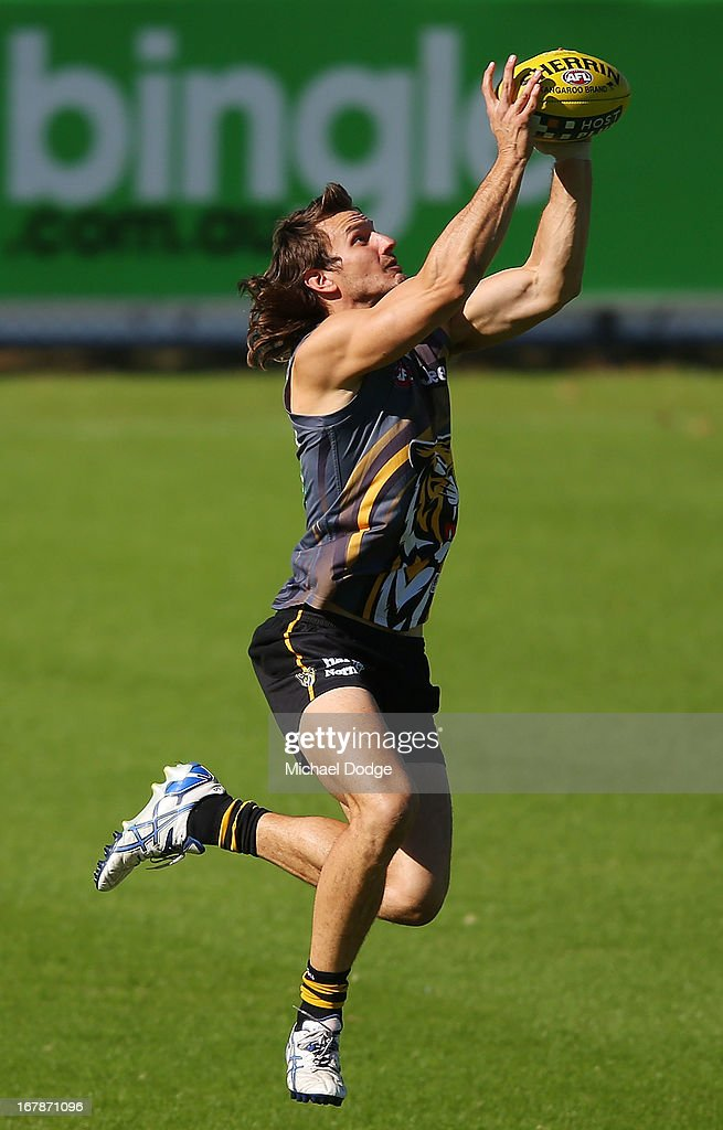 Ivan Maric marks the ball during a Richmond Tigers AFL training session at ME Bank Centre on May 2, 2013 in Melbourne, Australia.