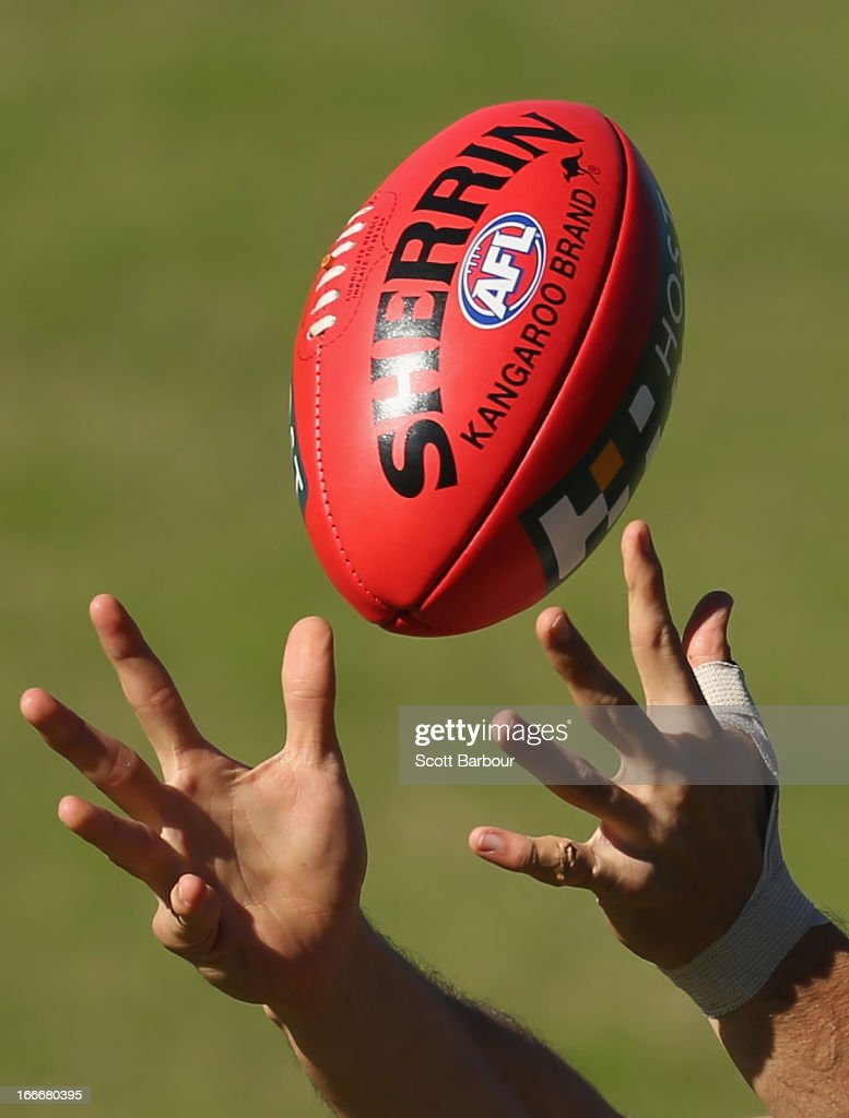 Ivan Maric of the Tigers catches the ball during a Richmond Tigers AFL training session at ME Bank Centre on April 16, 2013 in Melbourne, Australia.