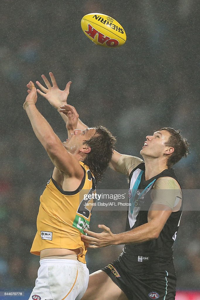 Ivan Maric of the Tigers competes with Logan Austin of the Power during the 2016 AFL Round 15 match between Port Adelaide Power and the Richmond Tigers at Adelaide Oval on July 1, 2016 in Adelaide, Australia.