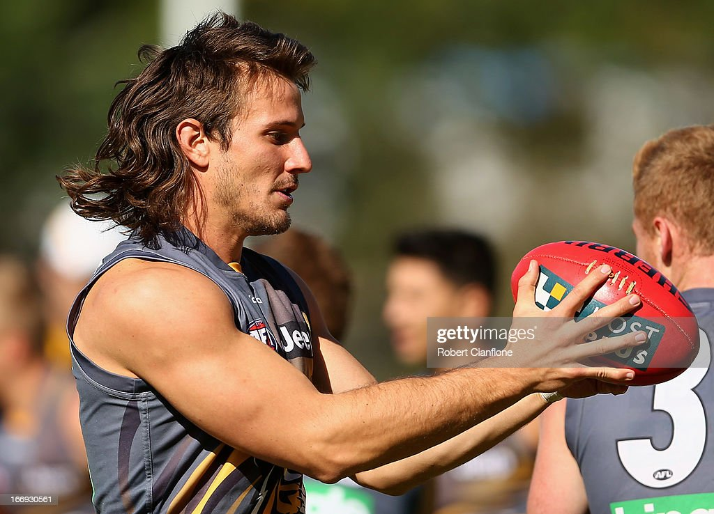 Ivan Maric of the Tigers takes the ball during a Richmond Tigers AFL training session at ME Bank Centre on April 19, 2013 in Melbourne, Australia.