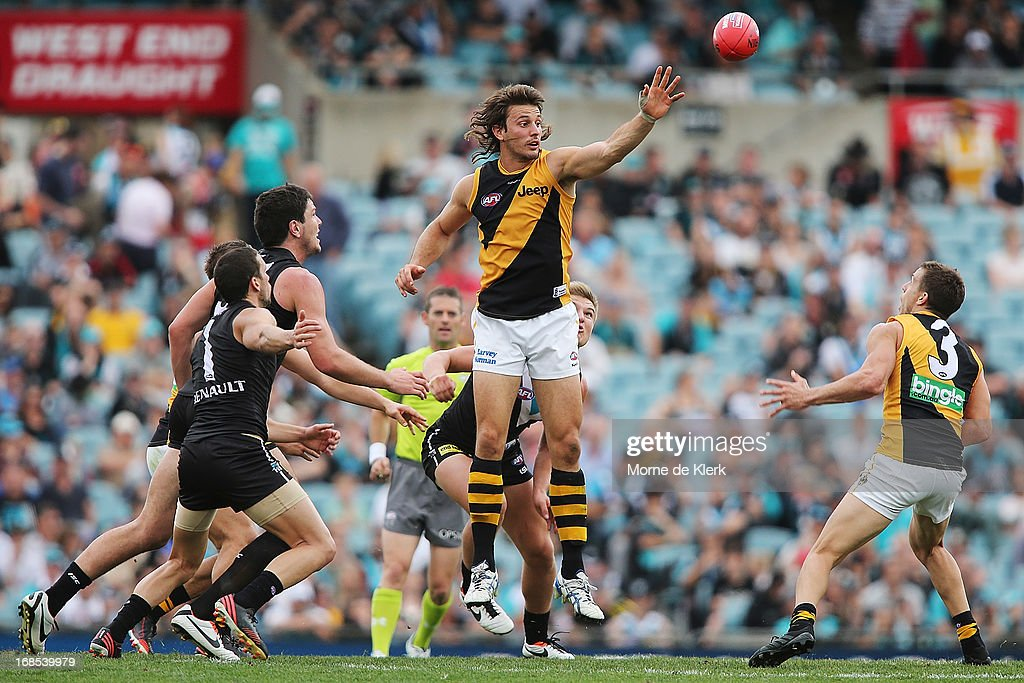 Ivan Maric of the Tigers wins the ball during the round seven AFL match between Port Adelaide Power and the Richmond Tigers at AAMI Stadium on May 11, 2013 in Adelaide, Australia.