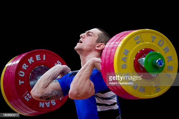 Ivan Markov from Bulgaria lifts in the Clean Jerk competition men's 85 kg Group A during weightlifting IWF World Championships Wroclaw 2013 at...