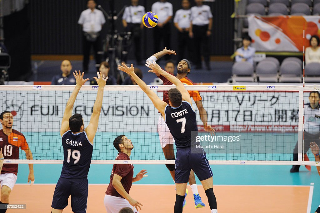 <a gi-track='captionPersonalityLinkClicked' href=/galleries/search?phrase=Ivan+Marquez&family=editorial&specificpeople=3130511 ng-click='$event.stopPropagation()'>Ivan Marquez</a> of Venezuela attacks in the match between Venezuela and Argentina during the FIVB Men's Volleyball World Cup Japan 2015 at the Hamamatsu Arena on September 9, 2015 in Hamamatsu, Japan.
