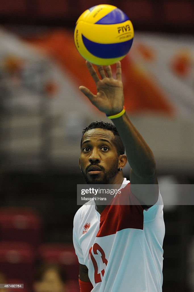 Ivan Marquez of Zenezuela looks on prior to the match between Iran and Venezuela during the FIVB Men's Volleyball World Cup Japan 2015 at the Hamamatsu Arena on September 10, 2015 in Hamamatsu, Japan.