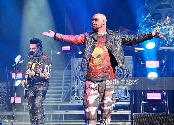 Ivan Moody and Jason Hook of Five Finger Death Punch perform on Halloween night at SAP Center on October 31 2016 in San Jose California
