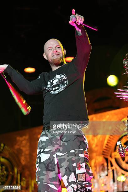 Ivan Moody from Five Finger Death Punch performs during the 'Louder Than Life' Music Festival in Champions Park on October 05 2014 in Louisville...