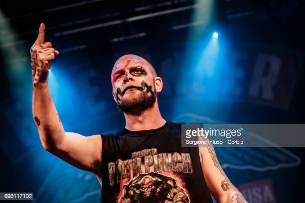 Ivan Moody of American heavy metal band Five Finger Death Punch performs on stage at Alcatraz on June 6 2017 in Milan Italy