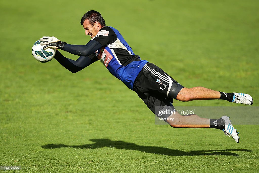 Ivan Necevski practises goalkeeping during a Sydney FC A-League training session at Macquarie Uni on March 5, 2013 in Sydney, Australia.