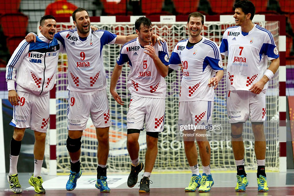 Ivan Nincevic, Igor Vori, Domagoj Duvnjak, Damir Bicancic and Luka Stepancic of Croatia celebrate afterduring the IHF Men's Handball World Championship group B match between Macedonia and Croatia at Duhail Handball Sports Hall on January 21, 2015 in Doha, Qatar. The match between Macedonia and Croatia ended 26-29.