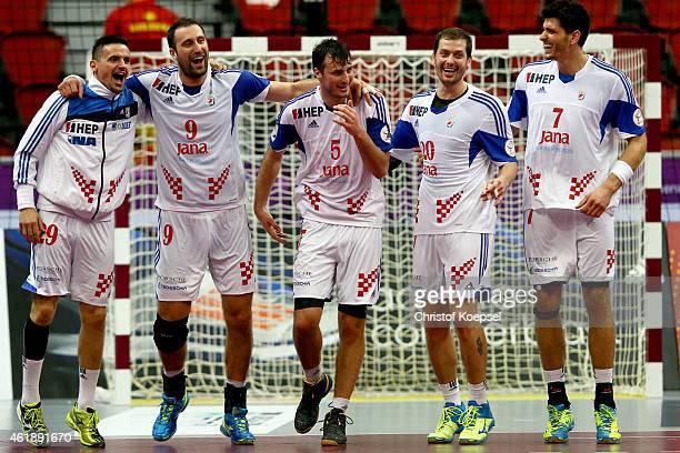 Ivan Nincevic Igor Vori Domagoj Duvnjak Damir Bicancic and Luka Stepancic of Croatia celebrate afterduring the IHF Men's Handball World Championship...