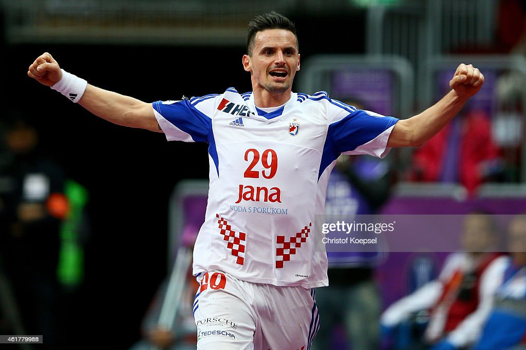 Ivan Nincevic of Croatia celebrates a goal during the IHF Men's Handball World Championship group B match between Croatia and Iran at Duhail Handball Sports Hall on January 19, 2015 in Doha, Qatar.