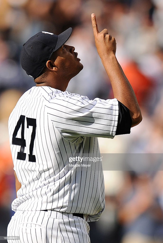 <a gi-track='captionPersonalityLinkClicked' href=/galleries/search?phrase=Ivan+Nova&family=editorial&specificpeople=5743486 ng-click='$event.stopPropagation()'>Ivan Nova</a> #47 of the New York Yankees celebrates a win over the San Francisco Giants during interleague play on September 21, 2013 at Yankee Stadium in the Bronx borough of New York City. The Yankees defeat the Giants 6-0.