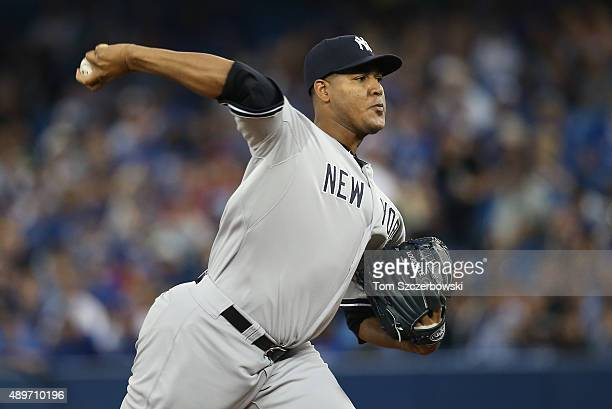 Ivan Nova of the New York Yankees delivers a pitch in the first inning during MLB game action against the Toronto Blue Jays on September 23 2015 at...