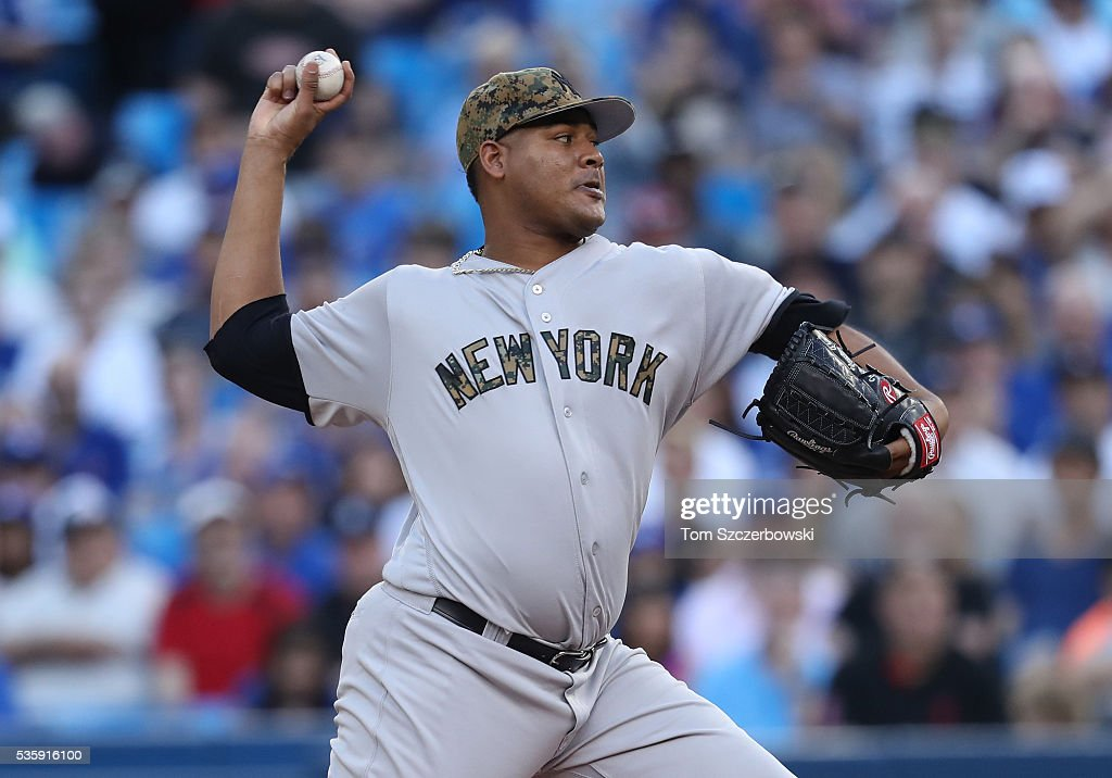 <a gi-track='captionPersonalityLinkClicked' href=/galleries/search?phrase=Ivan+Nova&family=editorial&specificpeople=5743486 ng-click='$event.stopPropagation()'>Ivan Nova</a> #47 of the New York Yankees delivers a pitch in the first inning during MLB game action against the Toronto Blue Jays on May 30, 2016 at Rogers Centre in Toronto, Ontario, Canada.