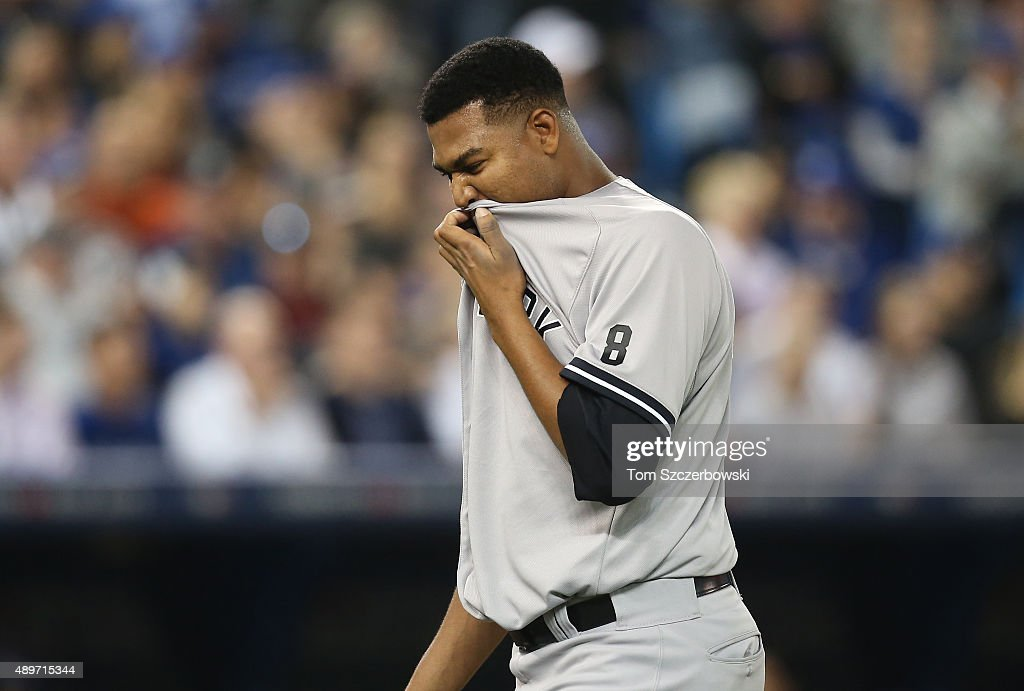 Ivan Nova #47 of the New York Yankees exits the game as he is relieved in the sixth inning during MLB game action against the Toronto Blue Jays on September 23, 2015 at Rogers Centre in Toronto, Ontario, Canada.