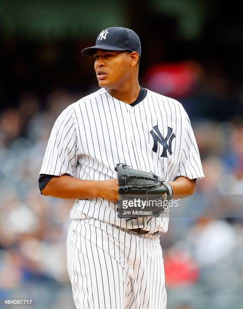 Ivan Nova of the New York Yankees in action against the Baltimore Orioles at Yankee Stadium on April 8 2014 in the Bronx borough of New York City The...