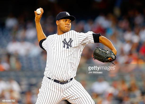 Ivan Nova of the New York Yankees in action against the Cleveland Indians at Yankee Stadium on August 20 2015 in the Bronx borough of New York City...