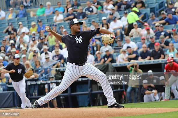 Ivan Nova of the New York Yankees in action during the game against the Philadelphia Phillies at Steinbrenner Field on March 3 2016 in Tampa Florida