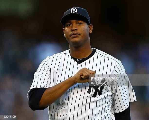 Ivan Nova of the New York Yankees is pulled from the game in the seventh inning against the Tampa Bay Rays on September 15 2012 at Yankee Stadium in...