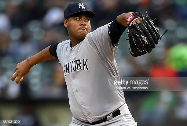 Ivan Nova of the New York Yankees pitches against the Oakland Athletics in the bottom of the second inning at Oco Coliseum on May 19 2016 in Oakland...