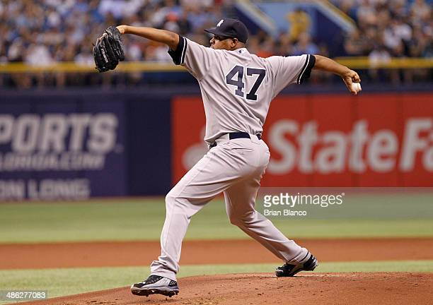 Ivan Nova of the New York Yankees pitches against the Tampa Bay Rays on April 19 2014 at Tropicana Field in St Petersburg Florida