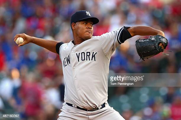 Ivan Nova of the New York Yankees pitches against the Texas Rangers in the bottom of the first inning at Globe Life Park in Arlington on July 27 2015...