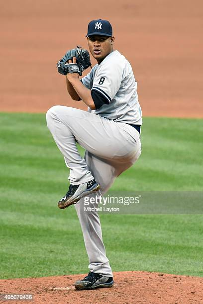 Ivan Nova of the New York Yankees pitches during game one of a baseball game against the Baltimore Orioles at Oriole Park at Camden Yards on October...