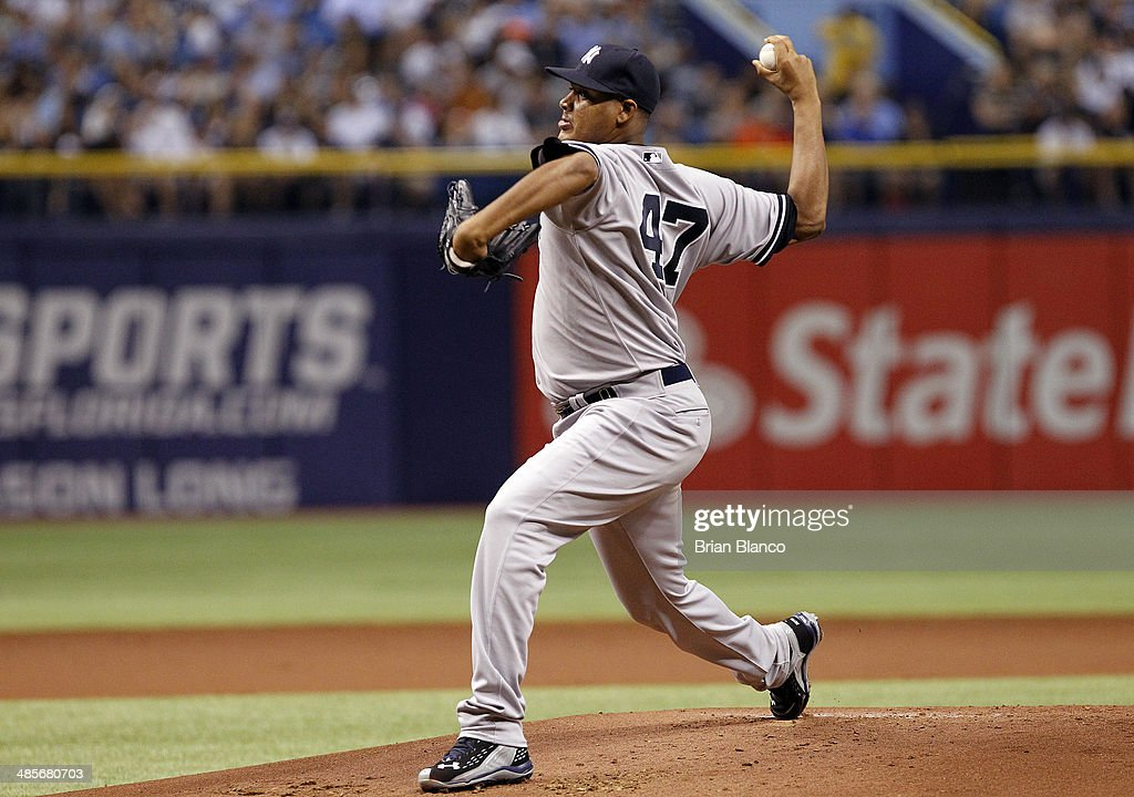 Ivan Nova #47 of the New York Yankees pitches during the first inning of a game against the Tampa Bay Rays on April 19, 2014 at Tropicana Field in St. Petersburg, Florida.